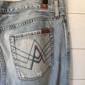 """7 For All Mankind """"A"""" Pocket Light Wash Jeans 34"""